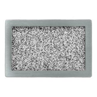 Silver Gray Faux Glitter Rectangular Belt Buckles