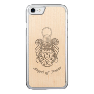 Silver Gray Filigree Christmas Angel of Peace Carved iPhone 8/7 Case