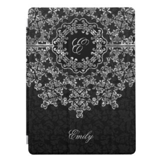 Silver Gray Floral Lace Black Damasks Monogram iPad Pro Cover