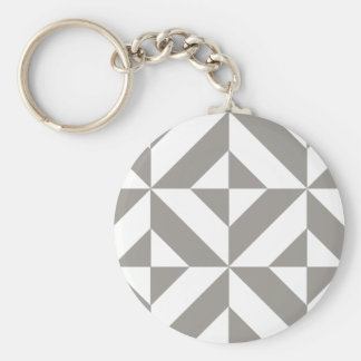 Silver Gray Geometric Deco Cube Pattern Keychain