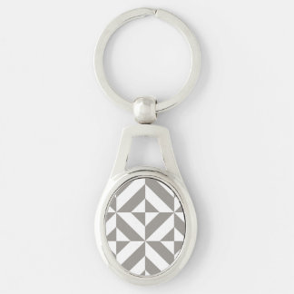 Silver Gray Geometric Deco Cube Pattern Key Chains