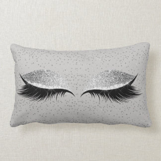 Silver Gray Glitter Black Glam Make Up Confetti Lumbar Cushion