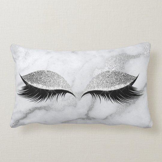 Silver Gray Glitter Black Glam Make Up Marble