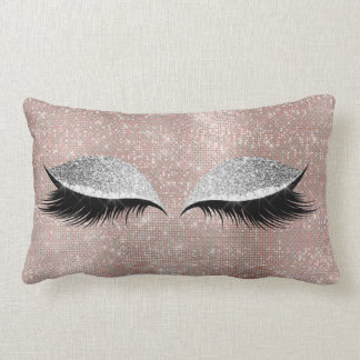 Silver Gray Glitter Black Glam MakeUp Blush Sequin Lumbar Cushion
