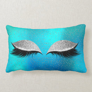 Silver Gray Glitter Black Glam MakeUp Ocean Cat Lumbar Cushion