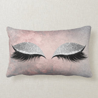 Silver Gray Glitter Black Makeup Crystals Pink Lumbar Cushion