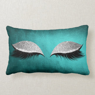Silver Gray Glitter Black  Makeup Crystals Teal Lumbar Cushion