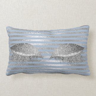 Silver Gray Glitter Blue Sky Makeup White Marble Lumbar Cushion