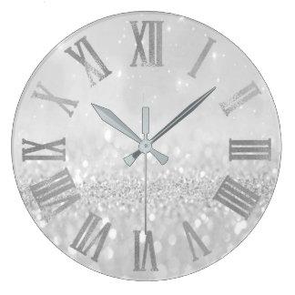 Silver Gray Glitter Minimal Metallic Roman Numers Large Clock