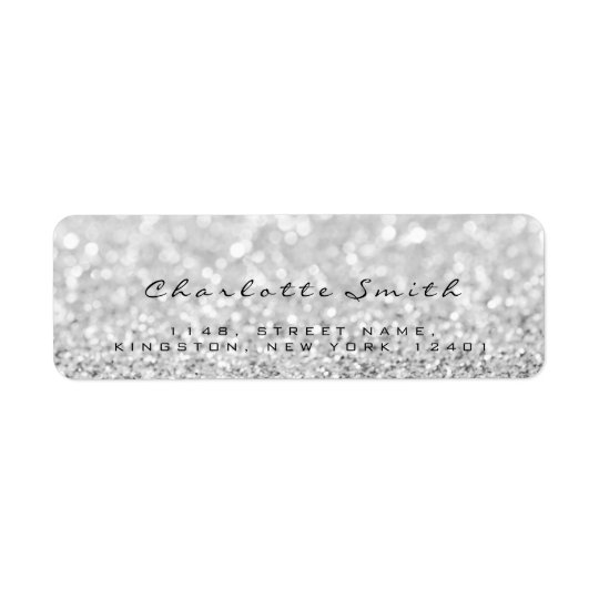 Silver Gray Glitter Return Address Labels
