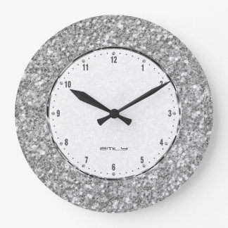 Silver Gray Glitter Texture Print Large Clock