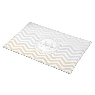 Silver Gray Gold Chevron Monogram Placemat
