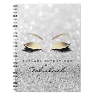 Silver Gray Gold Glitter Eyes Makeup Beauty Notebook