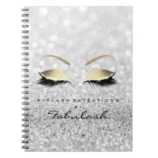 Silver Gray Gold Glitter Eyes Makeup Beauty Notebooks
