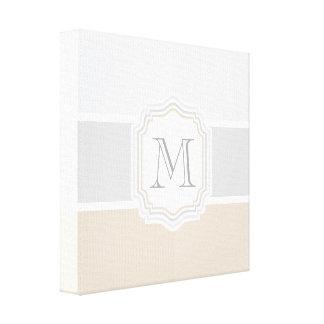 Silver/Gray/Gold Monogram Canvas Print