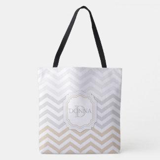Silver Gray Gold Monogram Chevron Tote Bag