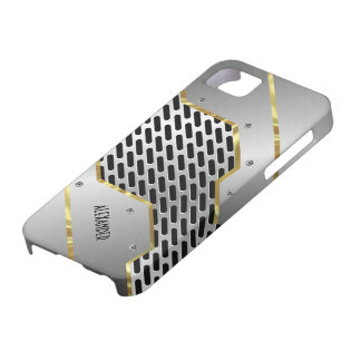 Silver Gray & Gold Shiny Metallic Look iPhone 5 Cover