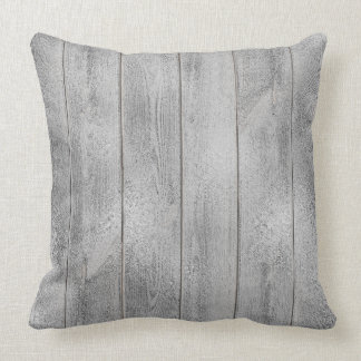 Silver Gray Graphi Glam Metallic Wood Cottage Home Cushion