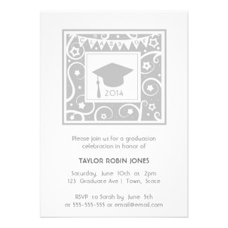 Silver Gray Grey Modern Graduation Invitations