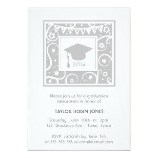 "Silver / Gray / Grey Modern Graduation Invitations 5"" X 7"" Invitation Card"