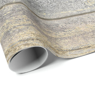 Silver Gray Grungy Champaign Gold Wood Rustic Wrapping Paper