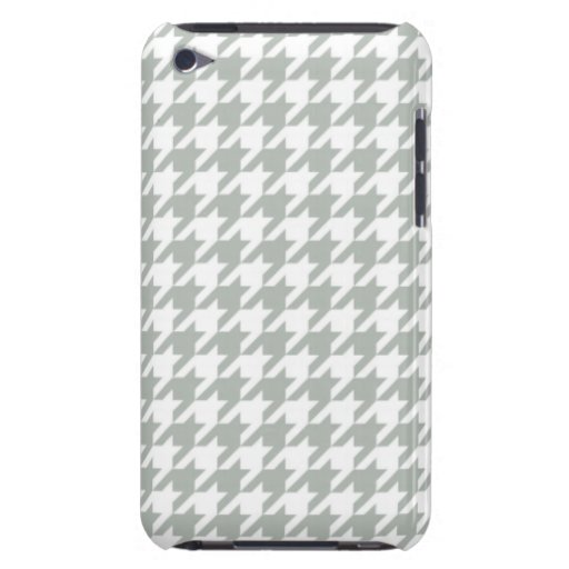 Silver Gray Houndstooth iPod Touch Cases
