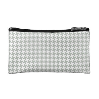 Silver Gray Houndstooth Makeup Bags