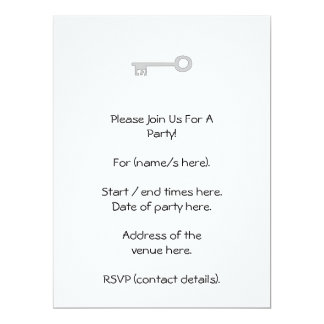 Silver Gray Key on White. 6.5x8.75 Paper Invitation Card