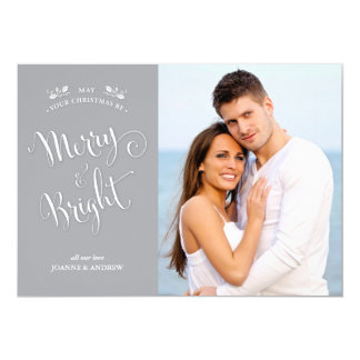 Silver Gray Merry & Bright Christmas Photo Card
