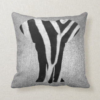 Silver Gray Metallic Black Zebra Skin Elephant Cushion