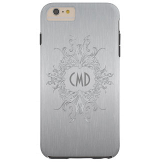 Silver Gray Metallic Design Brushed Aluminum Tough iPhone 6 Plus Case