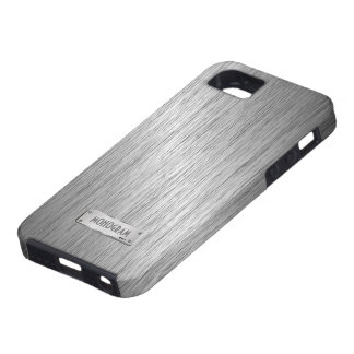 Silver Gray Metallic Look Brushed Steel iPhone 5 Cases