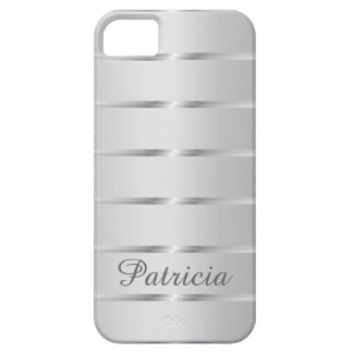 Silver Gray Metallic Stripes  Name iPhone 5 Case