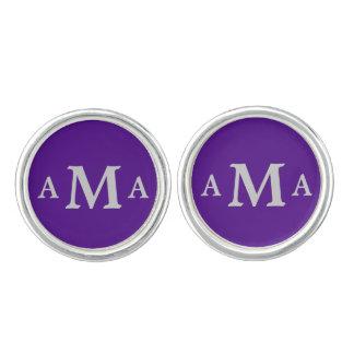 Silver Gray Monogram Royal Purple Cufflinks