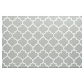 Silver Gray Moroccan Quatrefoil Trellis Fabric