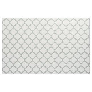 Silver Gray Moroccan Trellis Pattern Fabric