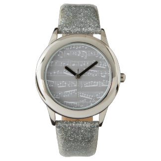 Silver Gray music notes Watch