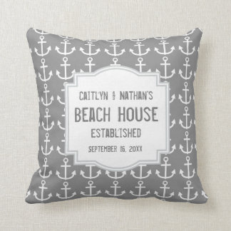 Silver Gray Nautical Theme with Anchors A03B Cushion