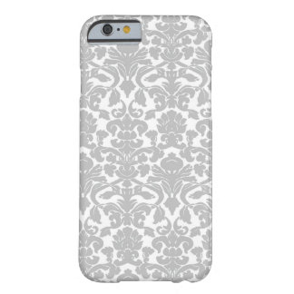 Silver Gray Ornate Floral Damask Pattern Barely There iPhone 6 Case