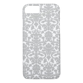 Silver Gray Ornate Floral Damask Pattern iPhone 7 Case