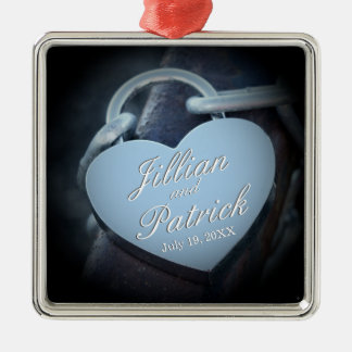 Silver Gray Padlock Chain Link Lovers Christmas Ornament