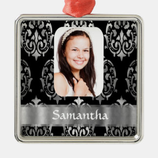 Silver gray personalized damask photo template christmas ornament