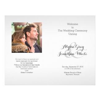 Silver Gray Photo Wedding Program Folded 21.5 Cm X 28 Cm Flyer