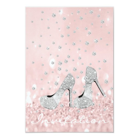 Silver Gray Pink Diamond Shoes Glitter Bridal Card