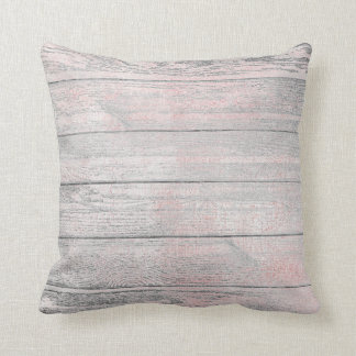 Silver Gray Pink Rose Natural Wood Cottage Home Cushion