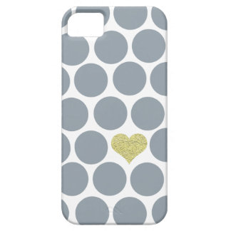 Silver Gray Polka Dots Glitter Heart iPhone Case For The iPhone 5