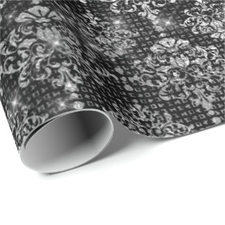 Silver Gray Royal Damask Urban Shimmering Luxury Wrapping Paper