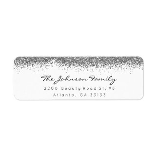 Silver Gray Sparkly Glitter Brush Stroke