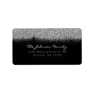Silver Gray Sparkly Glitter Brush Stroke Label