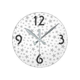 Silver Gray Stars Print Pattern Round Clock
